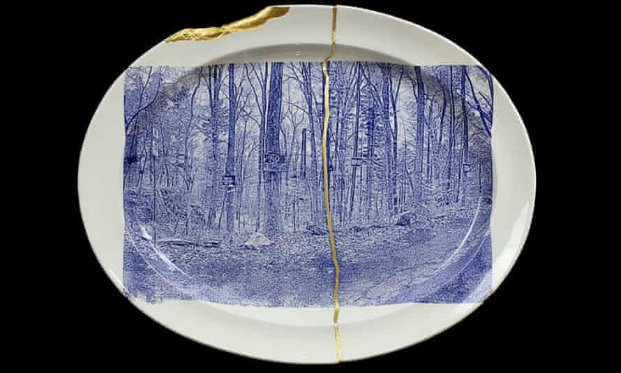 A collaged dish from Paul Scott: Scenery, Samplers and Souvenirs.