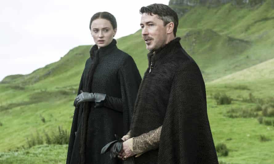 Sophie Turner as Sansa Stark and Aidan Gillen as Petyr Baelish, a Machiavellian presence in Game of Thrones.