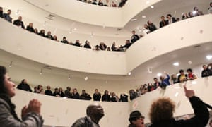 Photographer Nan Goldin leads a protest at the Guggenheim Museum in New York against its funding by the Sackler family.