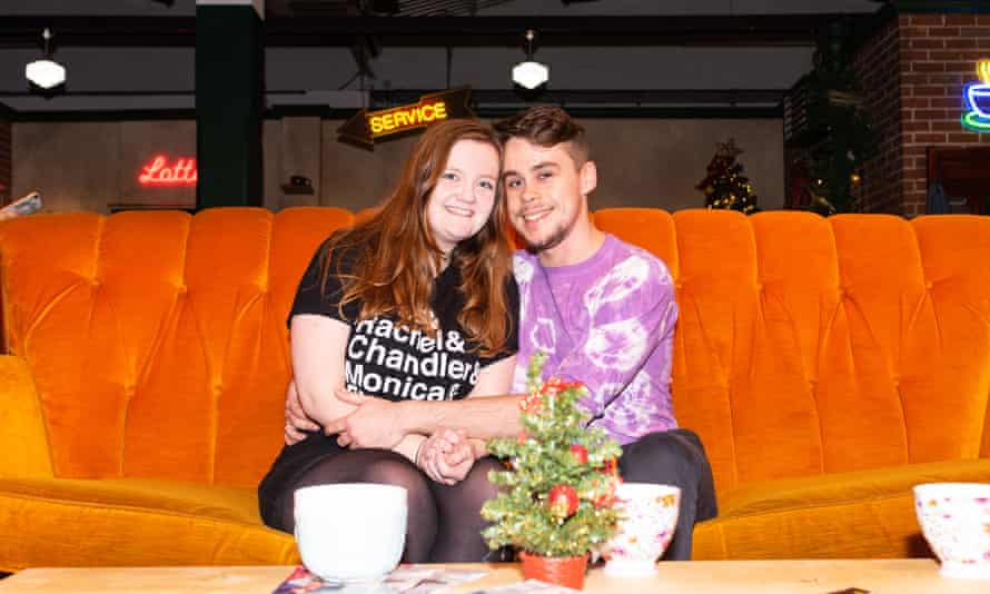 Long-time fan Charlotte Hardinge and her boyfriend Michael Hougham pose on the iconic Central Perk sofa.