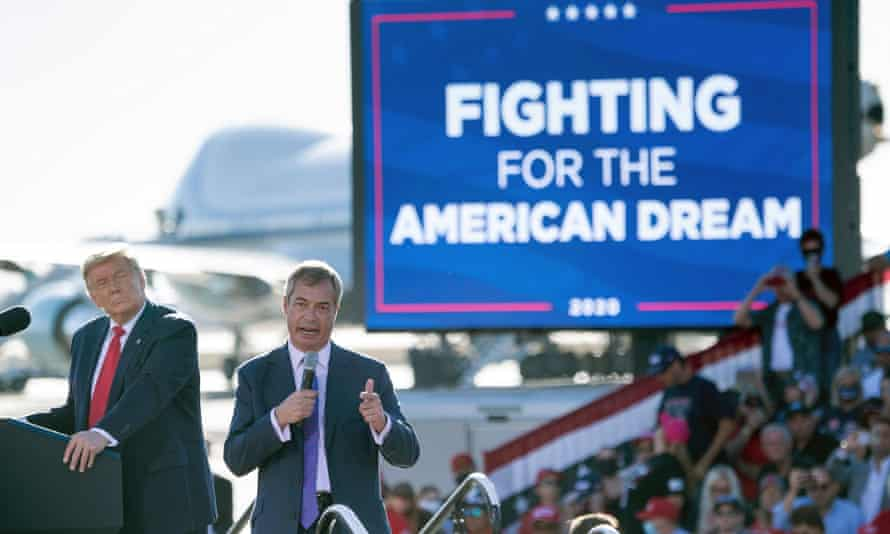 Donald Trump and Nigel Farage at a Make America Great Again rally in Goodyear, Arizona, 28 October 2020