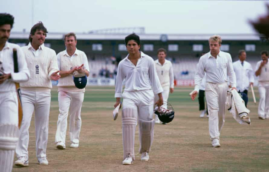 Sachin Tendulkar, centre, in the second test of England v India at Manchester's Old Trafford in 1990.