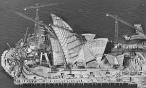 Sydney Opera House under construction in 1966.