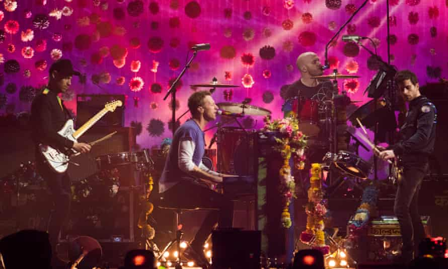 Coldplay performing at the Brit awards, February 2016.