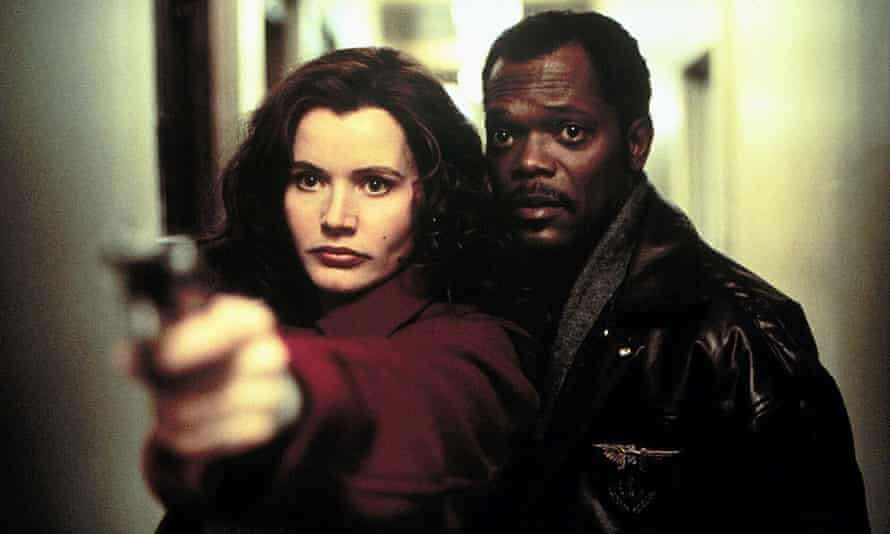 Samuel L Jackson with Geena Davies in The Long Kiss Goodnight