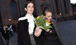 The Swedish Academy's former permanent secretary Sara Danius, left, with academy member Sara Stridsberg outside the institutions offices on 12 April,