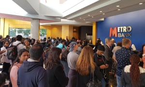 A packed Metro Bank branch in Harrow, after a flurry of WhatsApp messages spooked customers.