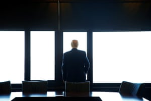 Trump looks out at Lake Michigan during a visit to the Milwaukee County War Memorial Center in Wisconsin