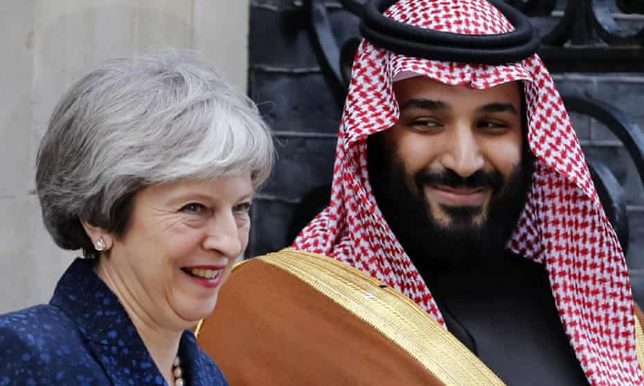 Theresa May and Mohammed bin Salman in London in March 2018.