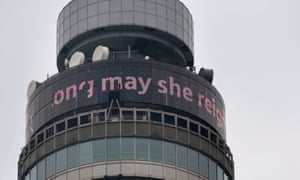 "The BT Tower in London scrolling the message ""Long May She Reign"" ."