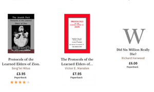 Waterstones' website listings for books deemed to be far-right or antisemitic by Hope Not Hate.