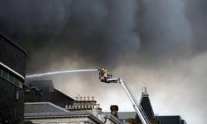Firefighters tackle the blaze on Sauchiehall Street.