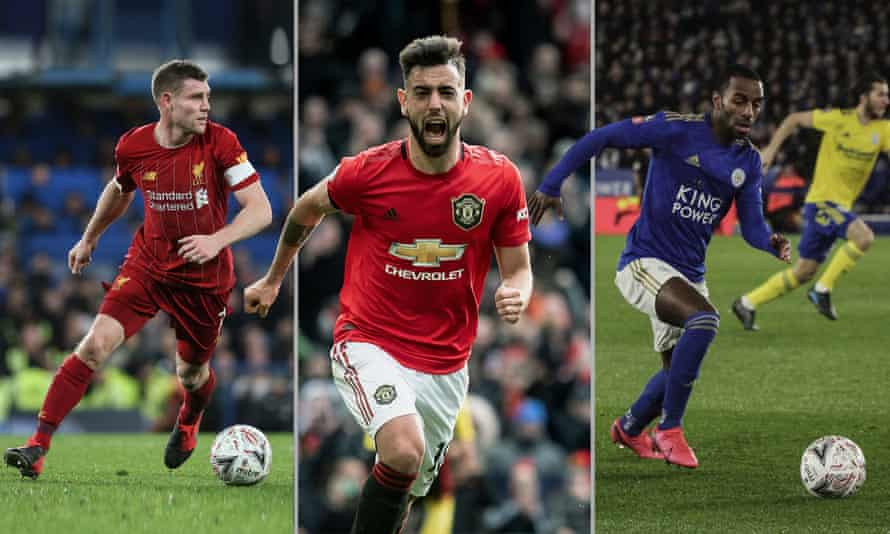 Liverpool's James Milner back in action, Bruno Fernandes of Manchester United celebrates scoring against Watford and Leicester City's Ricardo Pereira against Birmingham City.
