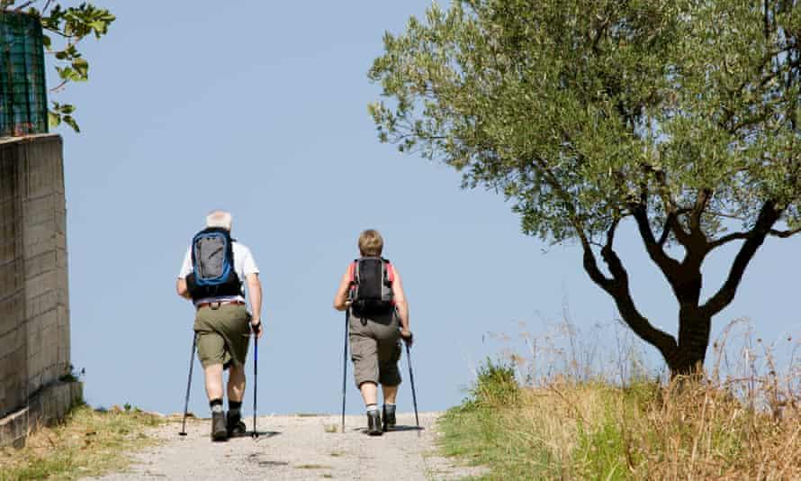 Two people Nordic walking