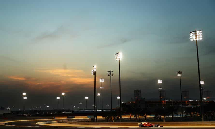 Kimi Raikkonen of Ferrari gets some practice at the Bahrain International Circuit before the 2017 edition of the race.