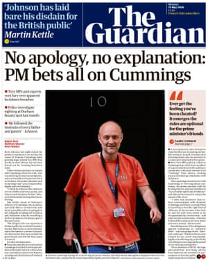 Guardian front page, Monday 25 May 2020