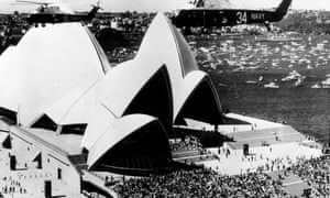Crowds gather for the 1973 opening of the Sydney Opera House