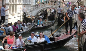 Last month Venice erected barriers in an attempt to control the tourist crowds.