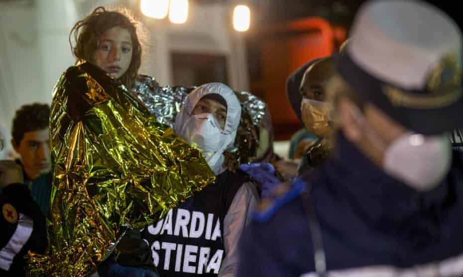 A Libyan migrant