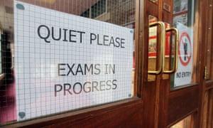 Exams in progress sign