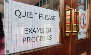 Exam in progress sign at a grammar school