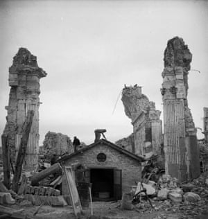 Monte Cassino, severely damaged during the second world war.