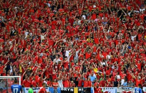 The Welsh supporters enjoy themselves during that first half in Bordeaux.