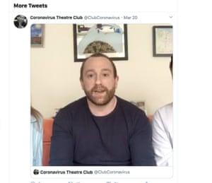 Brian from the Coronavirus Theatre Club on Twitter @ClubCoronavirus