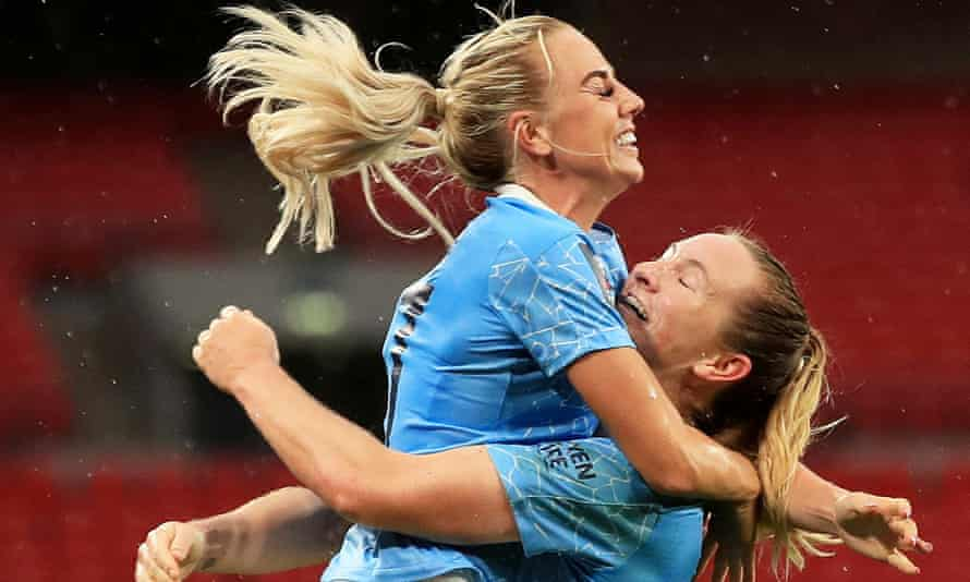 Sam Mewis celebrates with Alex Greenwood (left) after scoring for Manchester City against Everton in November's FA Cup final.