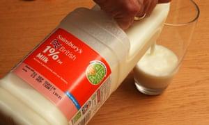 A bottle of Sainsbury's milk