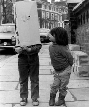 William as a child with a box over his head with his sister Kate in Gloucester Road in 1969.
