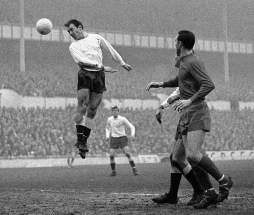 Jimmy Greaves rises highest to score for Tottenham against West Brom at White Hart Lane in 1966