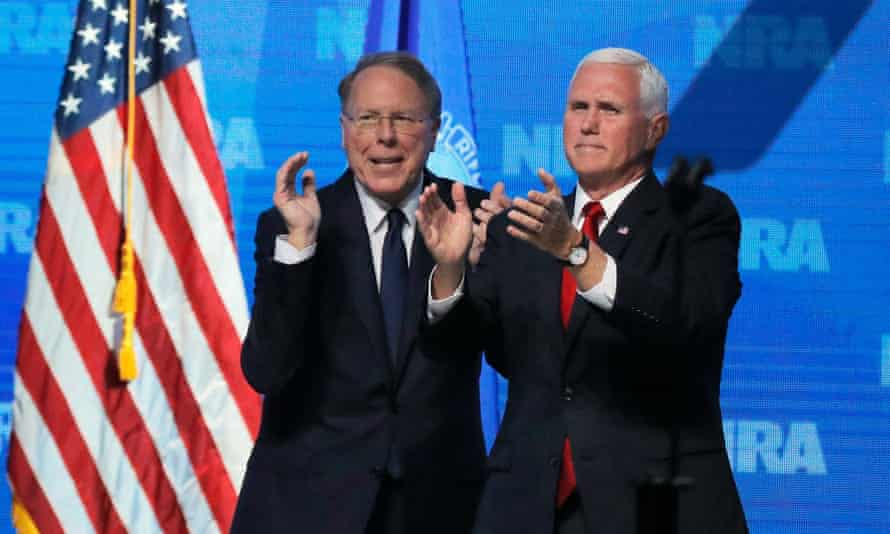 Wayne LaPierre with Mike Pence at the NRA convention in Dallas in May 2018. The NRA announced it would be counter-suing the attorney general's office.