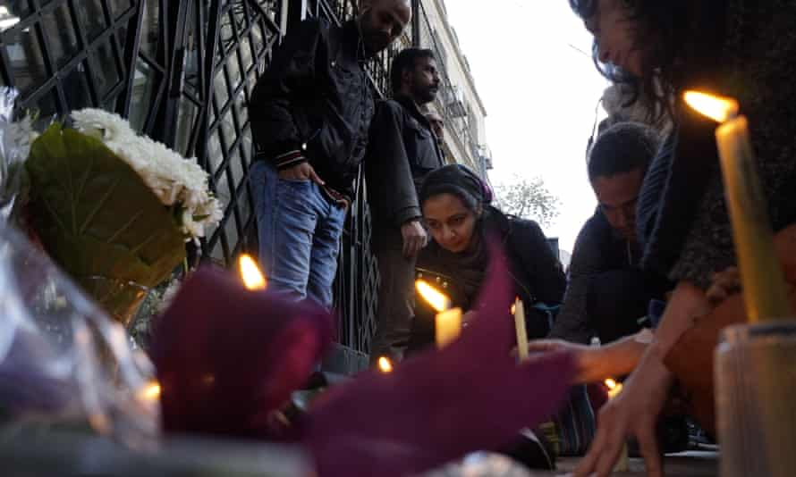 Mourners outside the Italian embassy in Cairo
