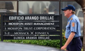 A private security guard outside Mossack Fonseca's headquarters in Panama.