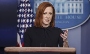 White House Press Secretary Jen Psaki talks to reporters during the daily press briefing in the Brady Press Briefing Room of the White House in Washington, DC on 1 March 2021.
