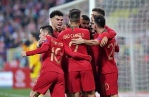 Portugal's players celebrate André Silva's goal which put them on their way to victory against Poland, even without Cristiano Ronaldo.