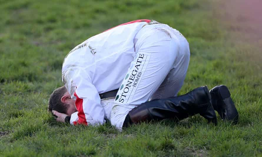 Jamie Moore shows his agony after he was unseated