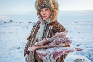 Lena (pictured) lives with her husband Lyonya, their four-year-old daughter Christina and their three dogs, Khutyu, Khadak and Tewa