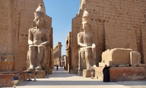 Colossi of Ramses II at the entrance to Luxor Temple.