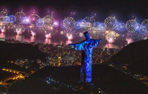 Christ the Redeemer above Rio De Janeiro during New Years fireworks 2019.