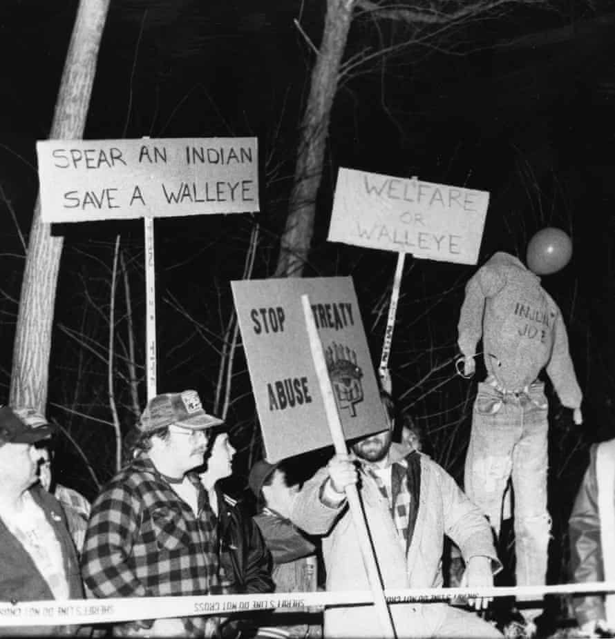 Protesters gather at a northern Wisconsin boat landing in the late 1980s.