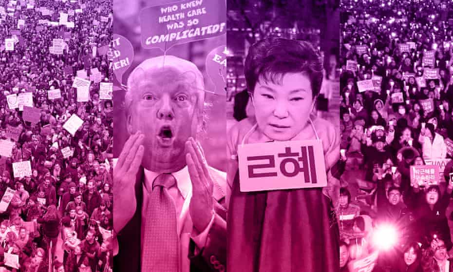 composite picture of people protesting against Donald Trump and Park Guen-hye
