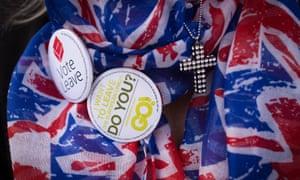 Vote leave badge on Union Jack printed fabric