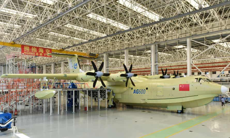 The Amphibious aircraft AG600 measures 37 meters (121 feet) in length with a wingspan of 39 meters (128 feet).