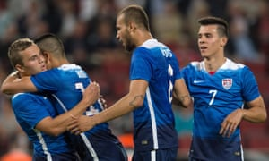 Jordan Morris (far left) was playing for the US team - here against Germany - before he had turned pro