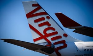 Virgin logo on tail of a plane