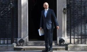 Britain's new home secretary Sajid Javid arrives at No 10 Downing Street on 1 May.