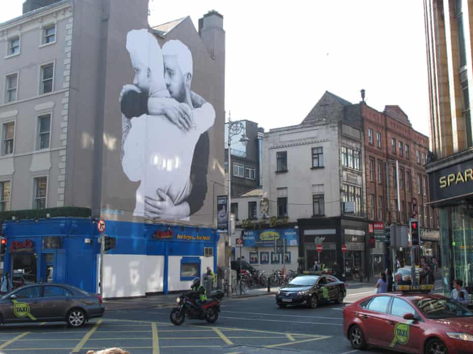 A gay rights mural decorates the side of a building in central Dublin.