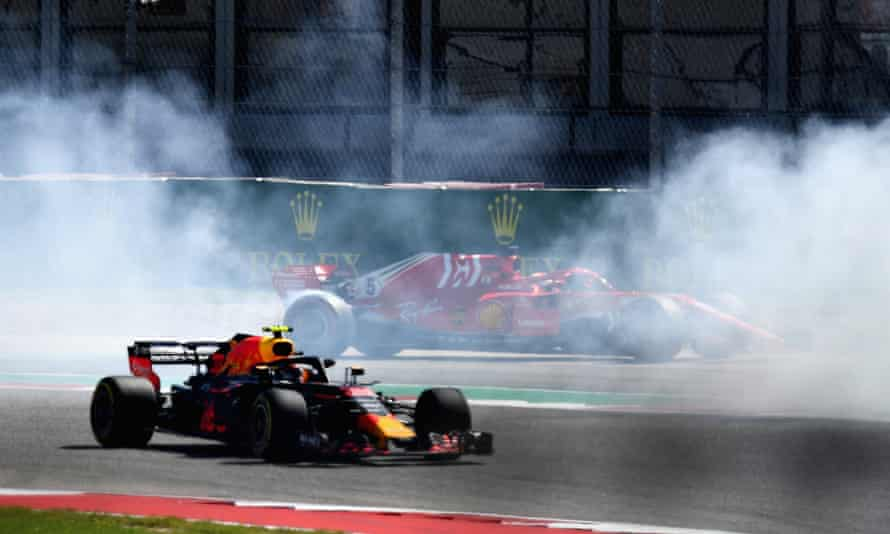 Sebastian Vettel spun off the track on the first lap after an incident with Daniel Ricciardo.